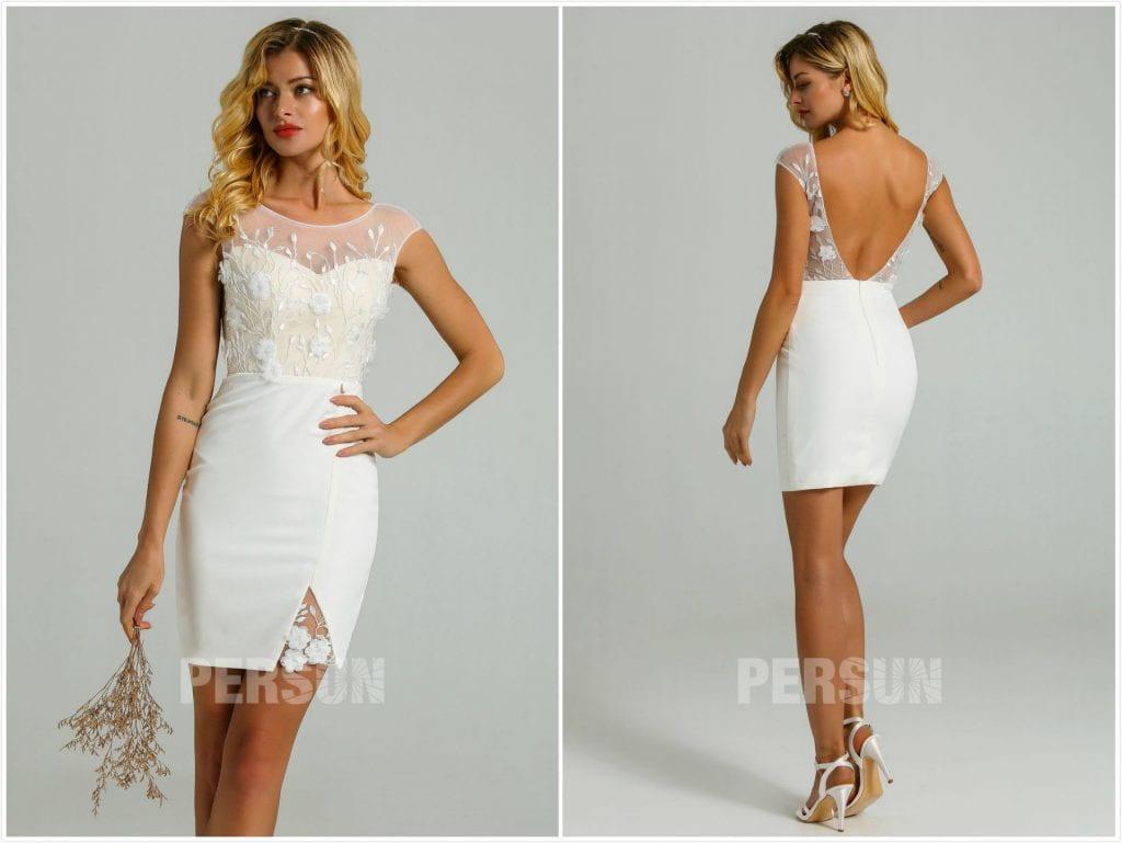 robe mariée plage courte sexy dos nu