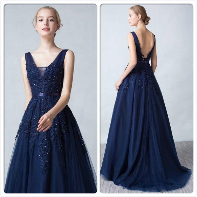 Robe soirée princesse bleu nuit décolleté en V